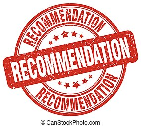 recommendation red grunge stamp