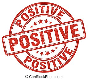 positive red grunge stamp