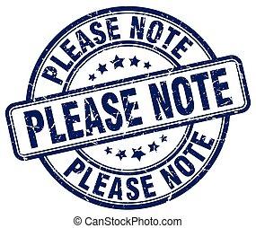 please note blue grunge stamp