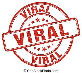 viral red grunge stamp