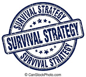 survival strategy blue grunge stamp