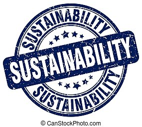 sustainability blue grunge stamp
