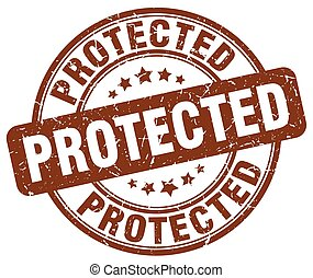 protected brown grunge stamp