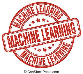 machine learning red grunge stamp