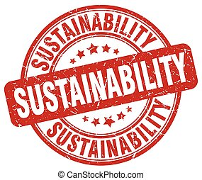 sustainability red grunge stamp