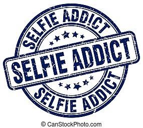 selfie addict blue grunge stamp