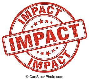impact red grunge stamp