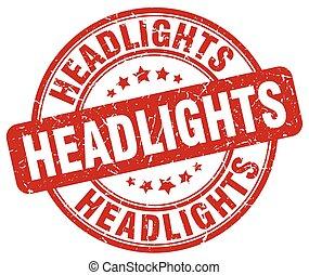 headlights red grunge stamp