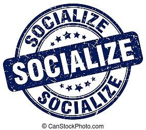 socialize blue grunge stamp