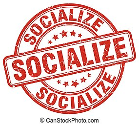 socialize red grunge stamp