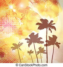 Exotic tropical palm trees with fantasy sunset background ....