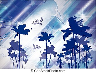 Exotic tropical palm trees at sunset or sunrise, with cloudy...
