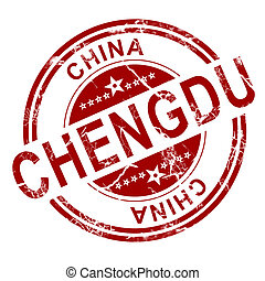 Red Chengdu stamp with white background, 3D rendering