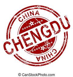 stämpel,  Chengdu, röd