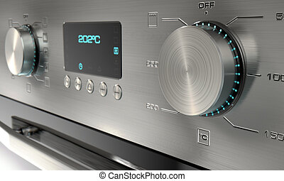 Modern Oven Closeups - A 3D render of a closeup of the dials...