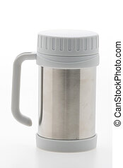 Thermos stainless bottle isolated on white background