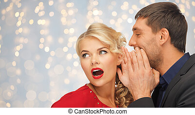 man and woman spreading gossip - people, communication,...