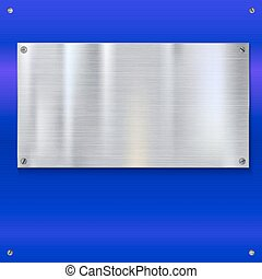 Shiny brushed metal plate with screws. Stainless steel...