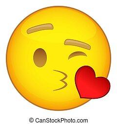 Emoticon, Coração, estilo, Amor, ícone, caricatura