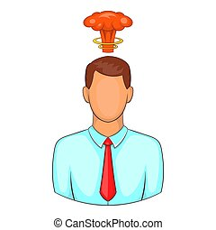 Cloud over man head icon, cartoon style - Cloud over man...