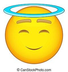 Emoticon with halo icon, cartoon style - Emoticon with halo...