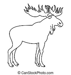 Moose icon, outline style - Moose icon. Outline illustration...