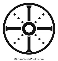 Round shield icon, simple style - Round shield icon. Simple...