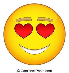 Emoticon, ícone, estilo, Amor, caricatura