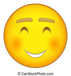 Smiling emoticon icon, cartoon style - Smiling emoticon with...