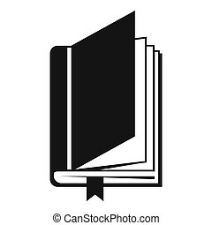 Book with bookmark icon, simple style - Book with bookmark...