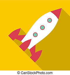 icono, plano, estilo, cohete, espacio