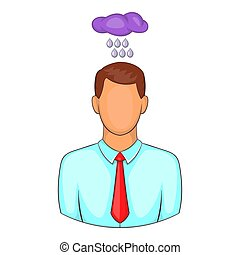 Man with cloud over his head icon, cartoon style - Depressed...
