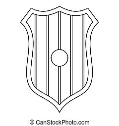 Protective shield icon, outline style - Protective shield...