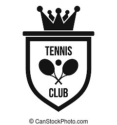 Coat of arms of tennis club icon, simple style - Coat of...