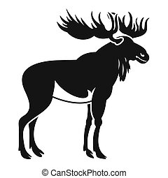 Moose icon, simple style - Moose icon. Simple illustration...