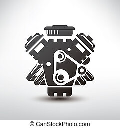 car engine symbol, stylized vector silhouette of automobile...