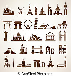 big set of world landmarks and historic buildings vector...