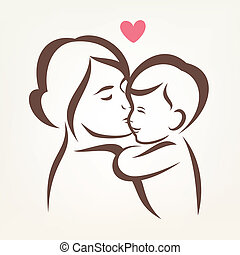 mother and son stylized vector silhouette, outlined sketch...
