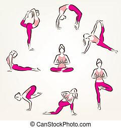 set of yoga and pilates poses symbols, stylized vector...