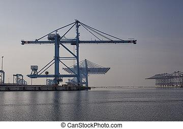 carga, carregando,  offloading, navios, porto, manhã,  terminal, desertado, porto