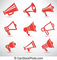 alto-falante,  symbolsl, jogo, ícones, isolado, megafone