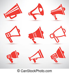 set of megaphone, loudspeaker isolated symbolsl and icons