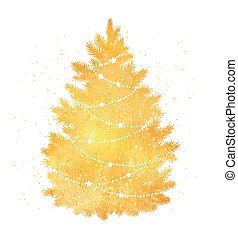 Gold silhouette of Christmas tree