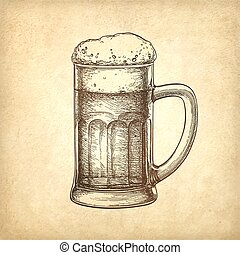 Beer mug on old paper background