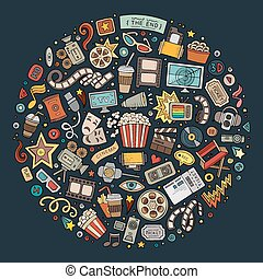 Set of Cinema cartoon doodle objects - Colorful vector hand...