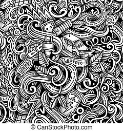 Cartoon doodles Electric cars season trace seamless pattern...