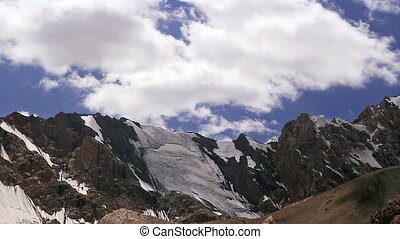 Mountains with clouds. Pamir, Tazhikistan. Time Lapse