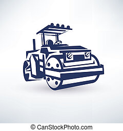 road roller, stylized vector symbol