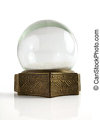 Vintage snow globe - Beautiful vintage brass snowglobe with...