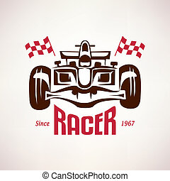 formula racing car emblem, race bolide symbol